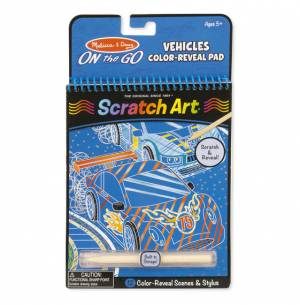 On the Go Scratch Art Colour Reveal Pad - Vehicles