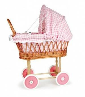 pink gingham doll's pram