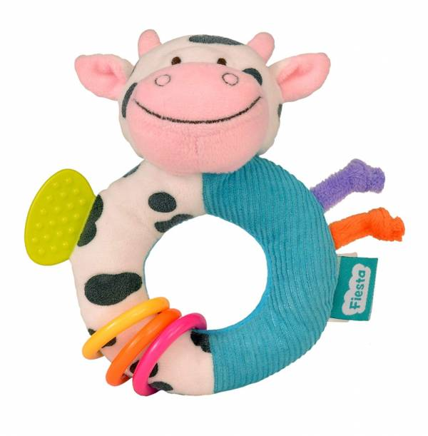Fiesta Crafts Cow Rattle and Teether Ringaling Toy