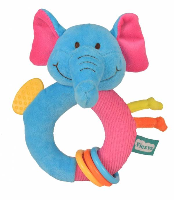 Fiesta Crafts Elephant Rattle and Teether Ringaling Toy