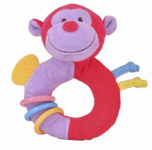 Fiesta Crafts Monkey Rattle and Teether Ringaling Toy
