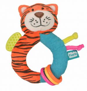 Fiesta Crafts Tiger Rattle and Teether Ringaling Toy