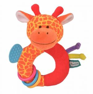 Fiesta Crafts Giraffe Rattle and Teether Ringaling Toy
